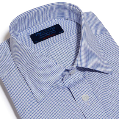 Contemporary Fit, Classic Collar, 2 Button Cuff Shirt in a Blue & White Check Poplin Cotton