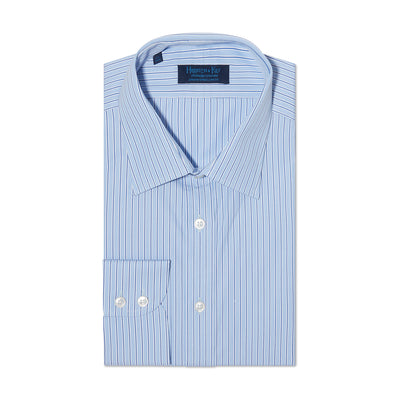 Contemporary Fit, Classic Collar, 2 Button Cuff Shirt in a Blue, Navy & White Stripe Poplin Cotton