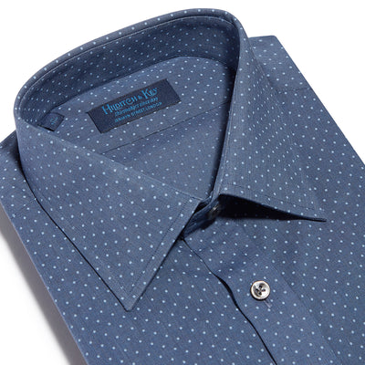 Contemporary Fit, Classic Collar, 2 Button Cuff Shirt in a Navy & Blue Small Spot Poplin Cotton
