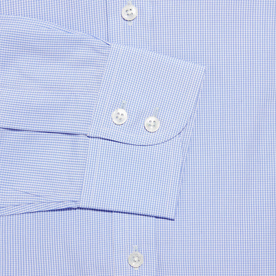 Contemporary Fit, Classic Collar, 2 Button Cuff Shirt in a Blue & White Check Sea Island Quality Poplin Cotton