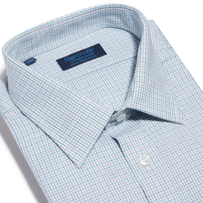 Contemporary Fit, Classic Collar, 2 Button Cuff Shirt in a Blue & Grey Check Twill Cotton