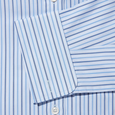 Contemporary Fit, Classic Collar, Double Cuff Shirt in a Blue & Navy Stripe Herringbone Cotton