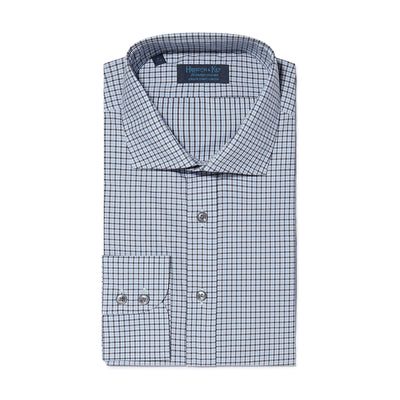 Contemporary Fit, Cut-away Collar, 2 Button Cuff Shirt in a Dark Navy & Blue Check Twill Cotton