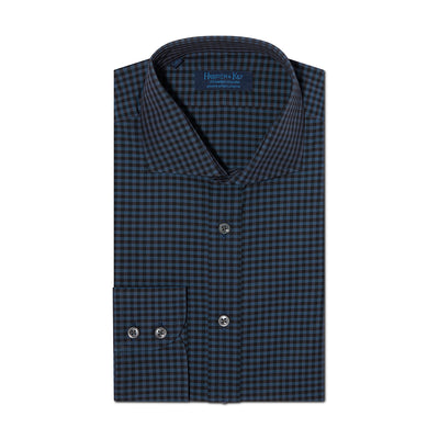 Contemporary Fit, Cut-away Collar, 2 Button Cuff Shirt in a Blue & Black Check Poplin Cotton