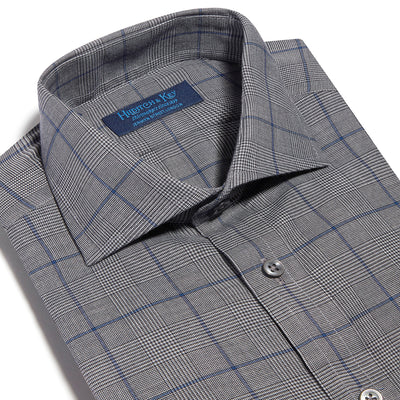 Contemporary Fit, Cut-away Collar, 2 Button Cuff Shirt in a Grey, Black & Navy PoW Check Twill Cotton