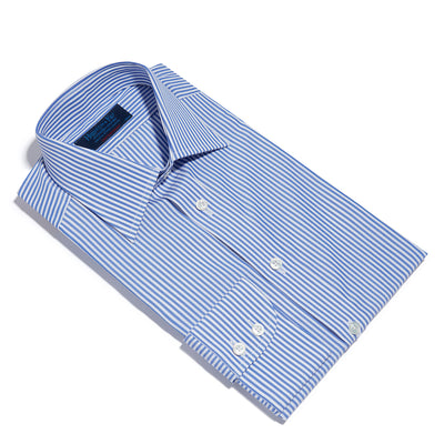 Contemporary Fit, Classic Collar, 2 Button Cuff Shirt in a Blue & White Medium Bengal Poplin Cotton