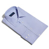 Contemporary Fit, Classic Collar, 2 Button Cuff Shirt in a Plain Blue End-On-End Cotton