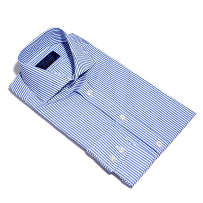 Contemporary Fit, Cut-away Collar, 2 Button Cuff Shirt in a Blue & White Medium Bengal Poplin Cotton
