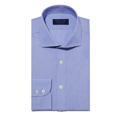 Contemporary Fit, Cut-away Collar, 2 Button Cuff Shirt in a Plain Blue End-On-End Cotton