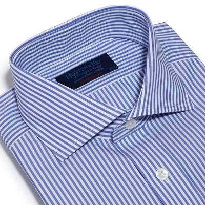 Contemporary Fit, Cut-away Collar, Double Cuff Shirt in a Blue & White Medium Bengal Poplin Cotton