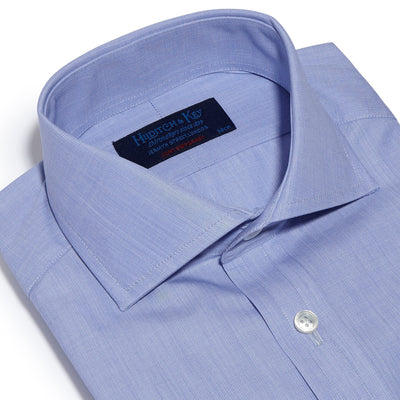 Contemporary Fit, Cut-away Collar, Double Cuff Shirt in a Plain Blue End-On-End Cotton