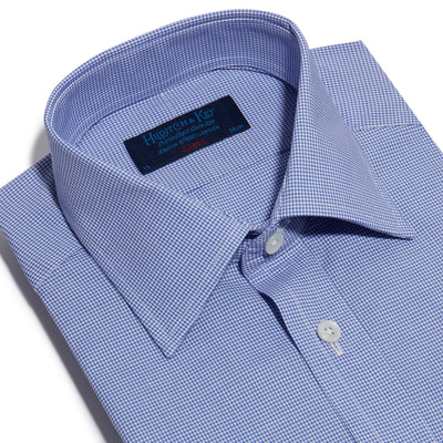 Classic Fit, Classic Collar, 2 Button Cuff Shirt in a Blue & White Shepherds Check Poplin Cotton