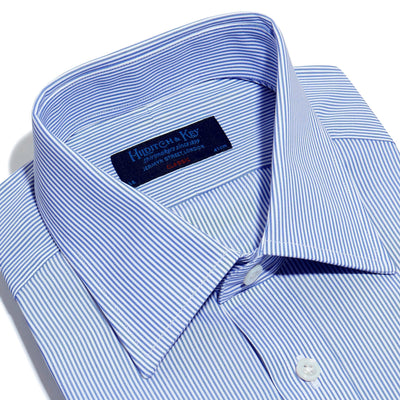 Classic Fit, Classic Collar, 2 Button Cuff Shirt in a Blue & White Fine Bengal Poplin Cotton