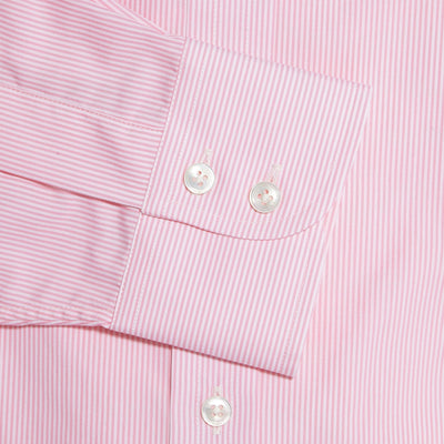 Classic Fit, Classic Collar, 2 Button Cuff Shirt in a Pink & White Fine Bengal Poplin Cotton