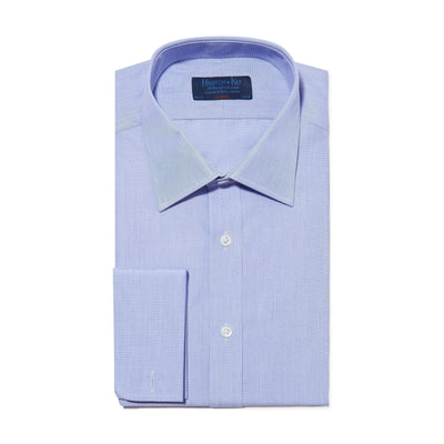 Classic Fit, Classic Collar, Double Cuff Shirt in a Plain Blue End-On-End Cotton