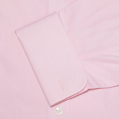 Classic Fit, Classic Collar, Double Cuff Shirt in a Plain Pink End-On-End Cotton