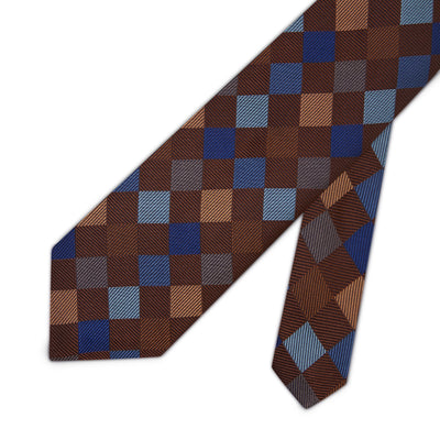 Brown Woven Silk Tie with Blue Large Check