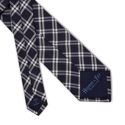 Navy Woven Silk Tie with White Large Check