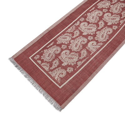 Wine Silk & Wool Paisley Scarf
