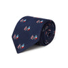 Navy Woven Silk Tie With Union Jack & French Flag