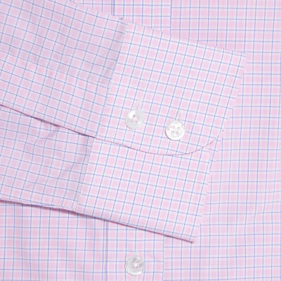 Contemporary Fit, Classic Collar, 2 Button Cuff Shirt in a Pink, Navy & White Check Sea Island Quality Poplin Cotton