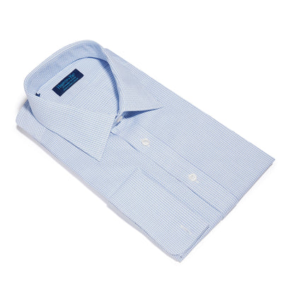 Contemporary Fit, Classic Collar, Double Cuff Shirt in a Blue, Navy & White Textured Twill Cotton