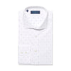 Contemporary Fit, Cut-away Collar, 2 Button Cuff Shirt in a White & Navy Jacquard Poplin Cotton