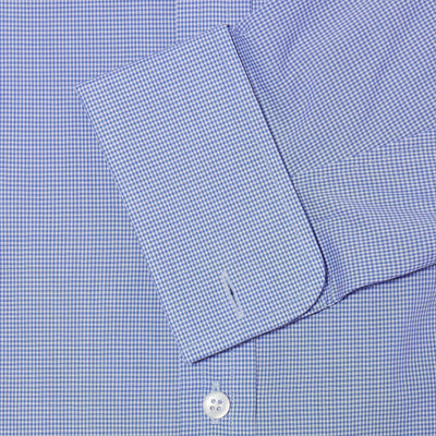 Classic Fit, Classic Collar, Double Cuff Shirt in a Blue & White Shepherds Check Poplin Cotton