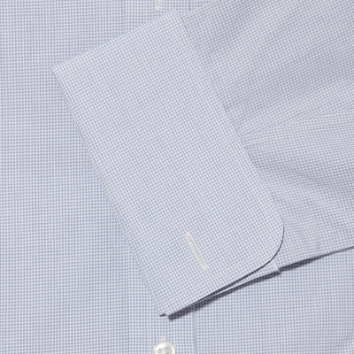 Contemporary Fit, Classic Collar, Double Cuff Shirt in a Grey & White Small Check Sea Island Quality Poplin Cotton
