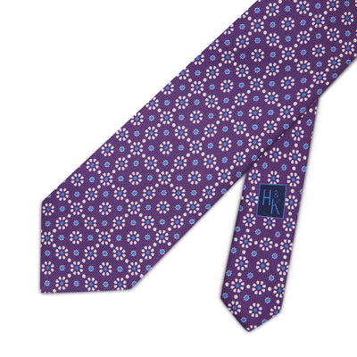Purple with Blue & White Floral Printed Silk Tie