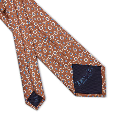 Tan with Blue & White Floral Printed Silk Tie