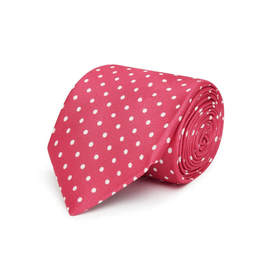 Fuschia & White Medium Spots Printed Silk Tie