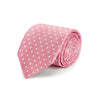 Pink Printed Silk Tie with White Medium Spots