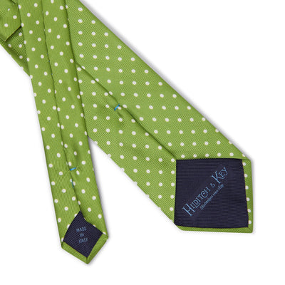Lime Printed Silk Tie with White Medium Spots