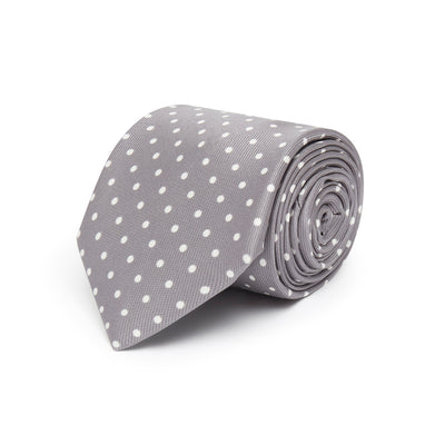 Light Grey Printed Silk Tie with White Medium Spots