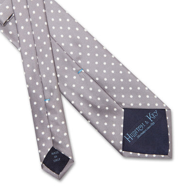 Grey Printed Silk Tie with White Medium Spots