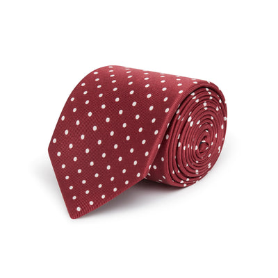 Burgundy Printed Silk Tie with White Medium Spots