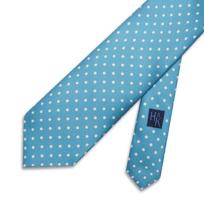 Turquoise Printed Silk Tie with White Medium Spots