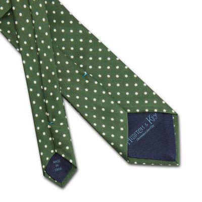 Green Printed Silk Tie with White Medium Spots