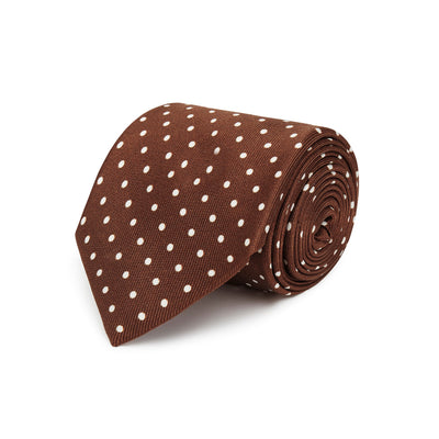 Brown Printed Silk Tie with White Medium Spots