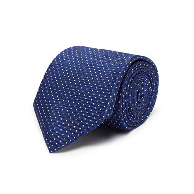 Navy Printed Silk Tie with White Neat Spots