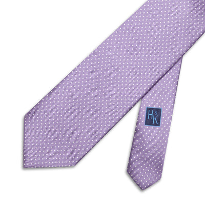 Lilac Printed Silk Tie with White Pin Spots