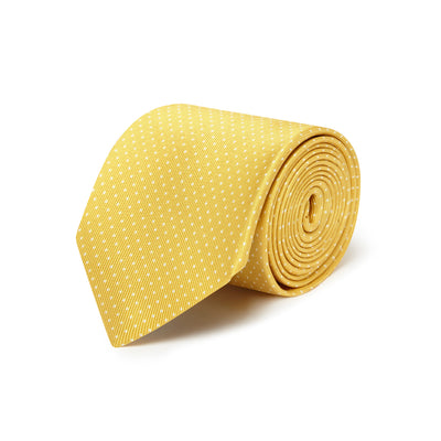 Yellow Printed Silk Tie with White Pin Spots