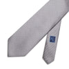 Grey Printed Silk Tie with White Pin Spots