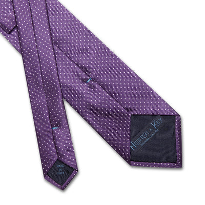 Purple Printed Silk Tie with White Pin Spots