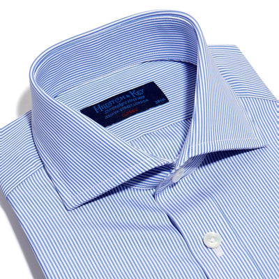 Classic Fit, Cut-away Collar, Double Cuff Shirt in a Blue & White Fine Bengal Poplin Cotton