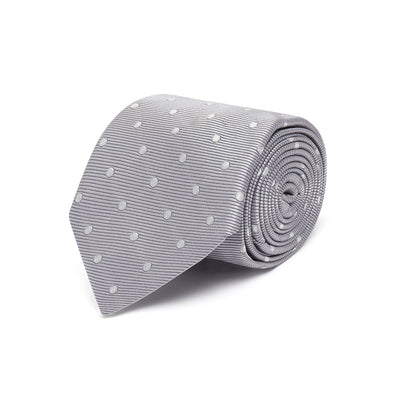 Grey Twill with White Spots Woven Silk Tie