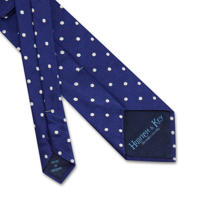 Royal Blue Twill with White Spots Woven Silk Tie