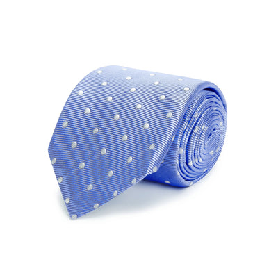 Blue Twill with White Spots Woven Silk Tie