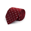 Burgundy Twill with White Spots Woven Silk Tie
